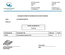 hazardous goods training certificate