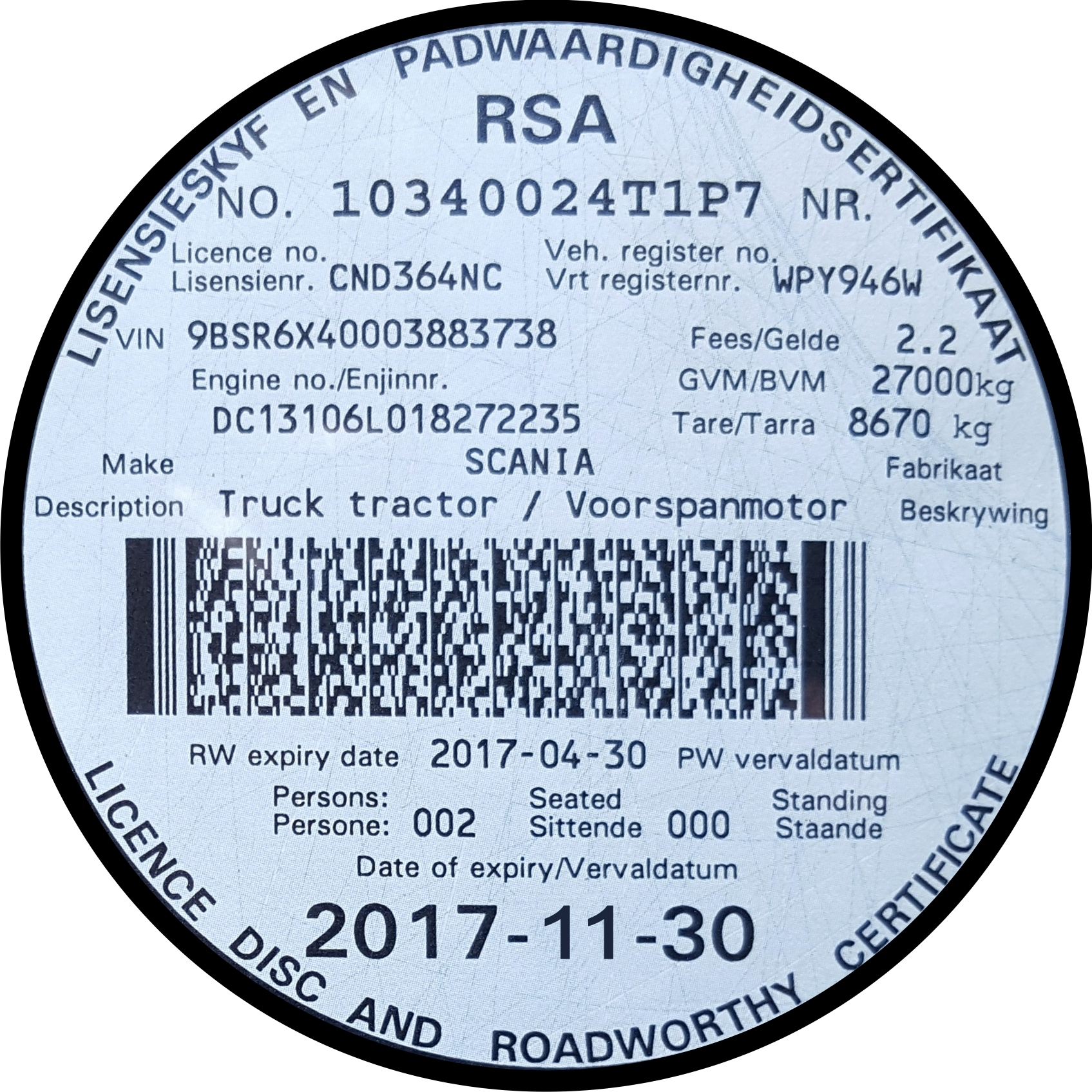 South African Motor Vehicle Licence And Licence Disc